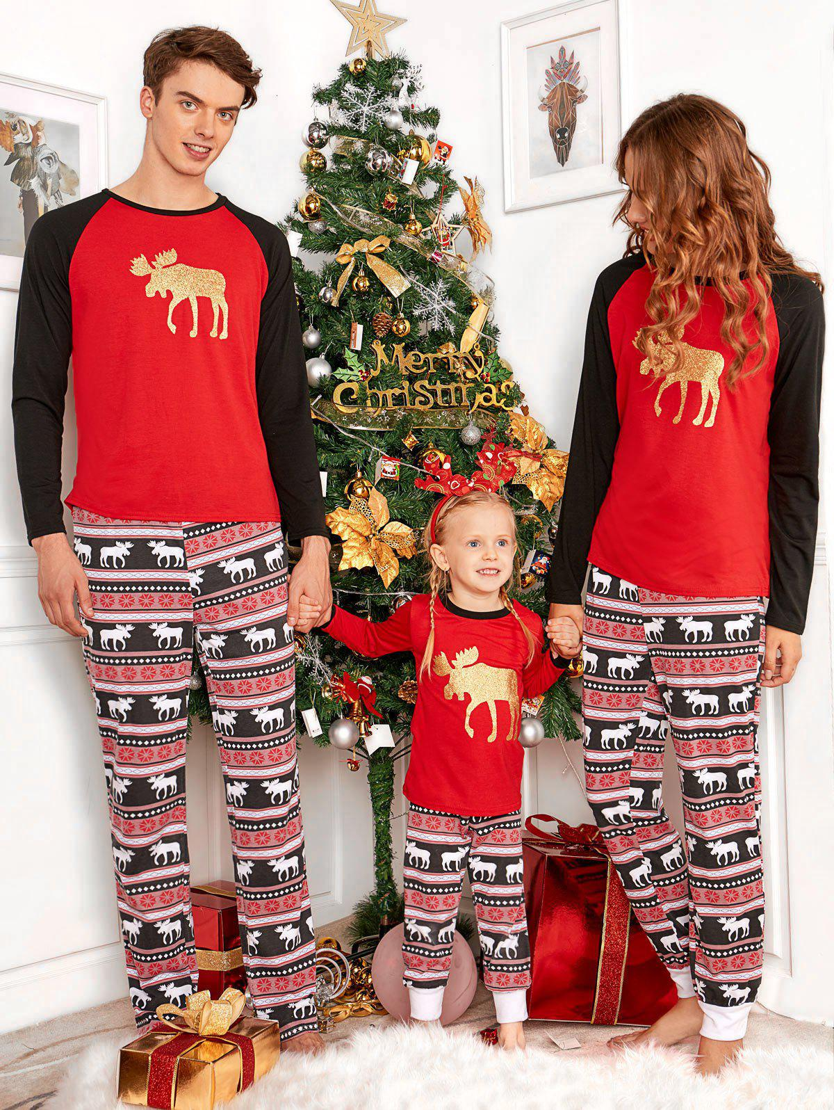 Deer ELK Matching Family Christmas PajamaWOMEN<br><br>Size: MOM L; Color: RED; Material: Cotton,Polyester; Pattern Type: Animal; Weight: 0.4000kg; Package Contents: 1 x Tee 1 x Pants;