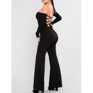 Off Shoulder Backless Lace-up Wide Leg Jumpsuit -