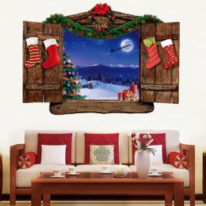 Christmas Wood Window Scenery Removable Wall Sticker -