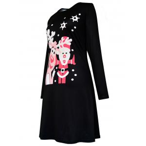 Christmas Santa Claus Elk Polka Dot Print Dress -