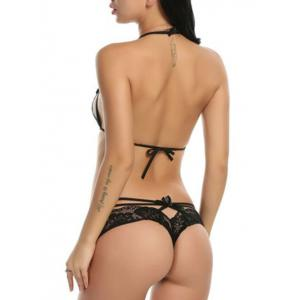 Lace Caged Bra and G-string Panties Set -