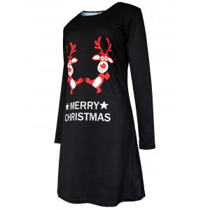 Merry Christmas Elk Print Tunic Dress -