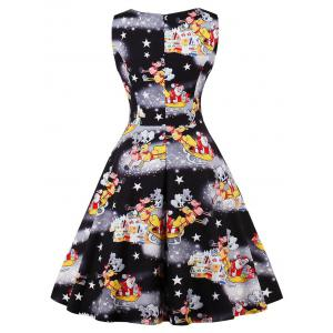 Vintage Santa Claus Print Christmas Dress -