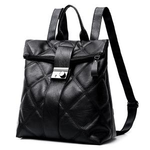 PU Leather Quilted Backpack -
