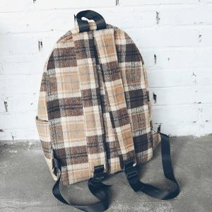 Plaid Backpack With Handle -