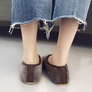 Slip On Round Toe Faux Fur Flat Shoes -