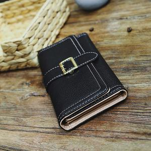 PU Leather Stitching Buckle Strap Wallet -