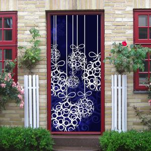 ... Christmas Hanging Baubles Pattern Door Cover Stickers ...