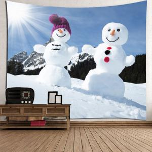 Decorative Snowmen Couples Pattern Wall Art Tapestry -