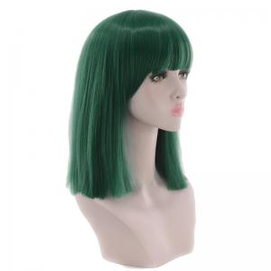 Medium Neat Bang Blunt Straight Synthetic Cosplay Wig -