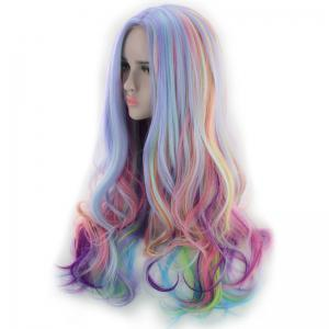 Long Side Parting Colorful Layered Wavy Synthetic Cosplay Wig -