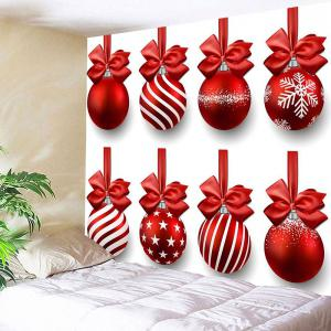 Christmas Hanging Bowknot Balls Patterned Wall Tapestry -