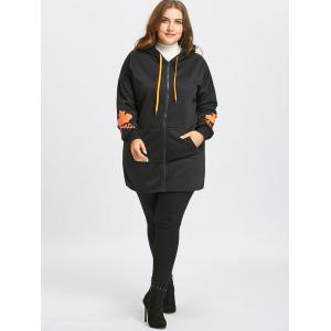 Zip Up Plus Size Graphic Canada Hoodie -