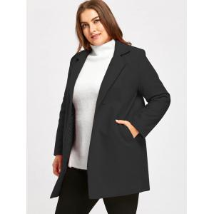Plus Size Long Lapel Wool Blend Coat -