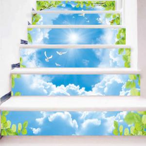 Sky Flying Pigeon Printed Decorative Stair Stickers -
