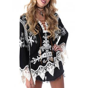 Lace Up Printed Shirt -