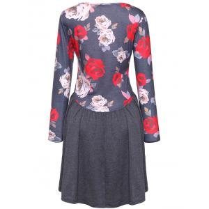 Rose Print Long Sleeve A Line Dress -