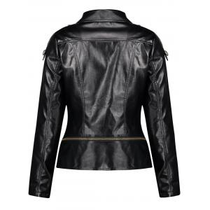 Button Zipper PU Leather Punk Jacket -