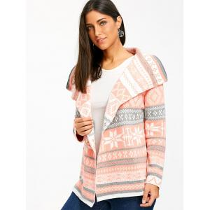 Stylish Turn-Down Collar Long Sleeve Printed Pocket Design Women's Cardigan -