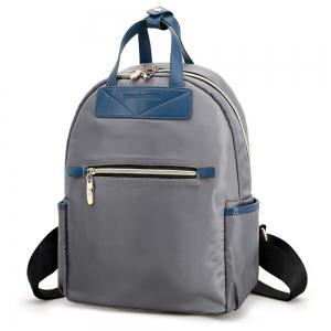 Nylon Double Handles Color Block Backpack -