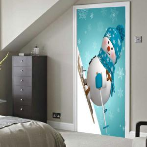 Christmas Skiing Snowman Pattern Door Cover Stickers -