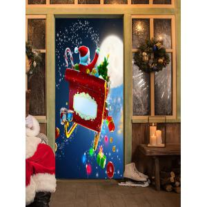 Christmas Santa with Gifts Pattern Door Cover Stickers -
