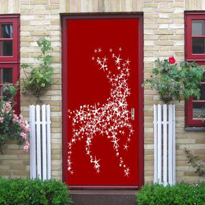 Christmas Star Deers Balls Pattern Door Cover Stickers -