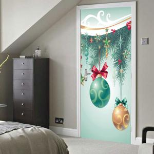 Christmas Tree Baubles Pattern Door Cover Stickers -