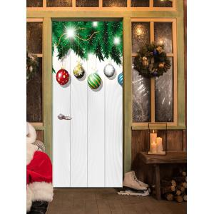 Christmas Baubles Woodgrain Pattern Door Cover Stickers -