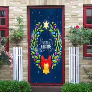 Christmas Wreath Bell Pattern Door Cover Stickers -
