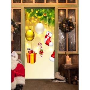 Christmas Tree Ornaments Pattern Door Cover Stickers -