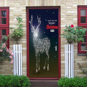 Sparkly Christmas Deer Pattern Door Cover Stickers -