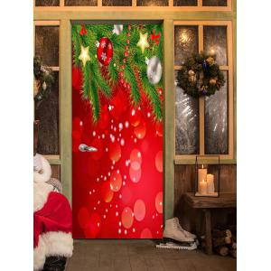 Christmas Baubles Stars Pattern Door Cover Stickers -
