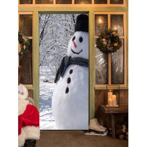 Christmas Forest Snowman Pattern Door Cover Stickers -