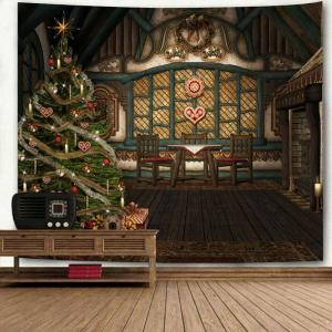 Wall Art Wooden House Sapin de Noël Tapisserie d'impression -