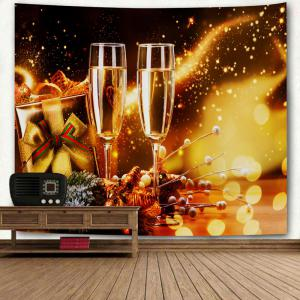 Christmas Two Champagne Glasses Print Wall Art Tapestry -