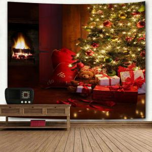 Christmas Tree Fireplace Gift Print Wall Tapestry -