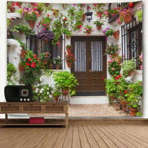 House with Flowers Printed Wall Hanging Tapestry -