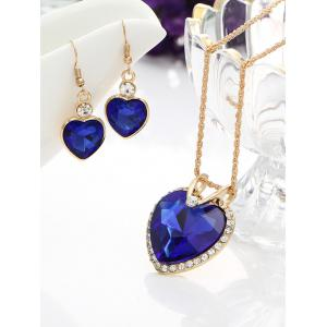 Faux Crystal Gemstone Rhinestone Heart Jewelry Set -