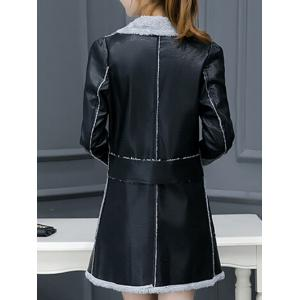 Lapel Collar Faux Leather Coat -