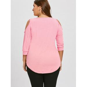 Plus Size Asymmetric Cutout Cold Shoulder  Tunic Top -
