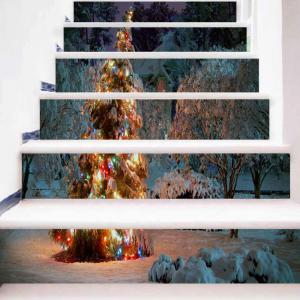 Christmas Snowscape Pattern Removable Stair Stickers -