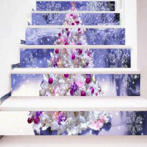 Christmas Tree Snowscape Printed Stair Stickers -