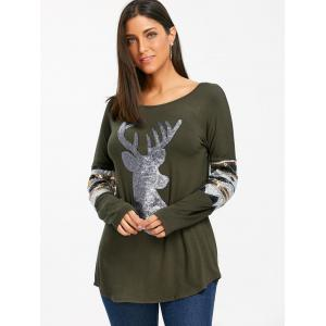 Christmas Sequin Deer Patterned Long Sleeve Top -