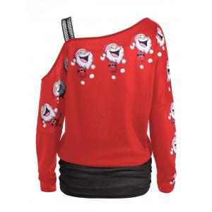 Santa Claus Laugh Print Cold Shoulder T-shirt -