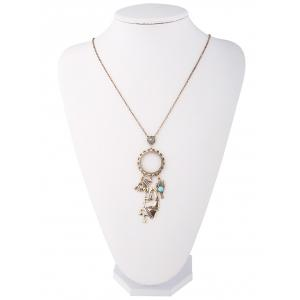 Artificial Turquoise Cactus Floral Sweater Chain -