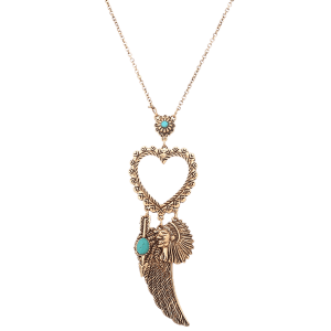 Faux Turquoise Heart Indian Wing Sweater Chain -