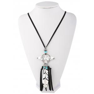 Faux Turquoise Leaf Fly Eagle Tassel Sweater Chain -