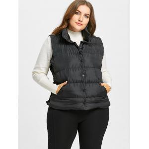 Button Up Plus Size Padded Waistcoat -