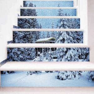 Christmas Snowscape Pattern Decorative Stair Stickers -